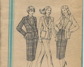 Simplicity 9186, Misses, Skirt, Pants, Jacket, Suit, Sewing Pattern, Woman, Career, Vintage 1978, Size 10-12, Uncut, No Envelope