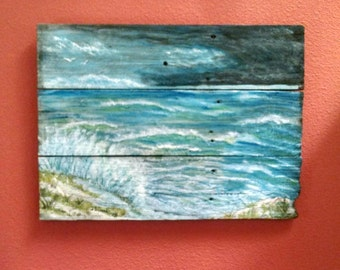 Storm on the Gulf Coast, Beach Painting, Beachscape on Reclaimed Wood, Acrylic Painting on Wood
