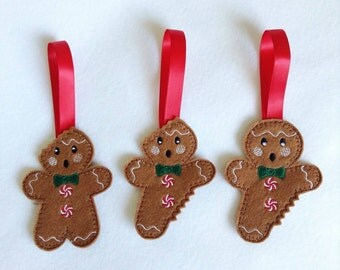 Christmas decorations, Christmas, Gingerbread, gingerbread man decoration, tree hanging, felt Christmas decoration, set of 3 decorations