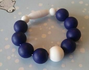 Navy Blue and White Silicone beaded Teething bracelet, 100% Food Grade Silicone, Sensory Bracelet, Teething Beads, BPA Free, Fidget Jewelry