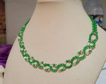 Glass crystal beaded choker necklace