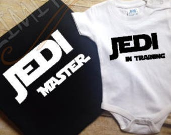 Jedi master,Star Wars,Father and son matching shirts,Fathers day gift,New dad,Family shirts,Jedi in training,gift for dad,Coming home outfit