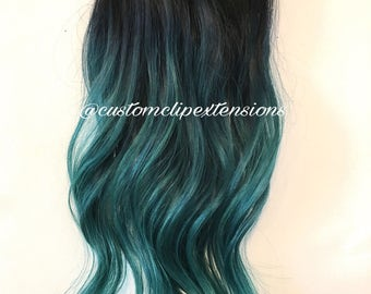 Black/teal Clip in Hair Extensions :  Clip In Hair Extensions, Teal  Hair Extensions, Teal Hair, Custom Hair Extensions,