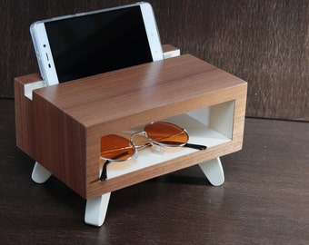 wood charging station, gift for her, desk accessories, Anniversary womens gift, ipad iphone stand mens gift docking station desk organizer