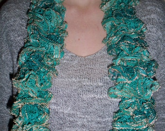 Turquoise frilly scarf