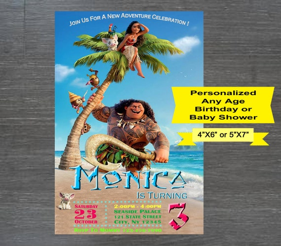Printable Moana Birthday Invitation