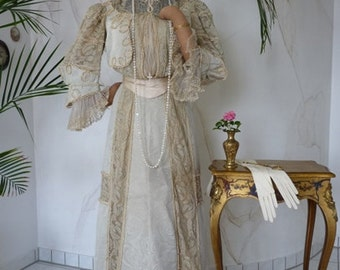 1901 Afternoon or Reception-Gown, designed by Shogren Sisters, Antique Dress, Edwardian Dress, Antique Gown, ca. 1901
