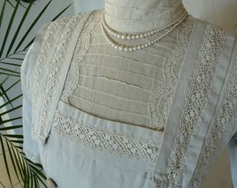 1908 Off-white Day Dress, antique Dress, antique Gown, Edwardian Dress