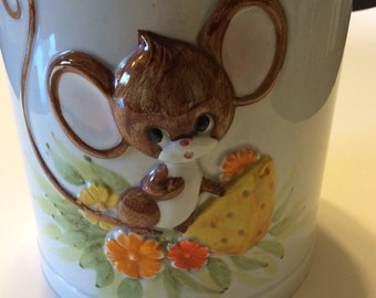 Vintage Ceramic Mouse Cookie Jar or Canister