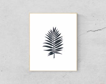 Palm Leaf Print - Palm Leaf Wall Decor - Tropical Leaf Print - Palm Tree Wall Print - Palm Leaf Art Print -Palm Tree Print Art Linocut Print