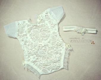 Newborn baby set , newpbornprop, photoprops, romper, headband, lace