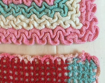 Potholders, crocheted, colorful, set of 2