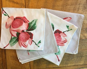 Napkins, gray and cream with flowers, set of 4