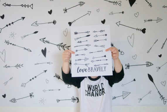 Giant Coloring Page, Love Bravely, Valentine's Day, Poster Printable