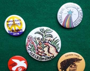 Vintage CND Aldermaston Molesworth Anti Nuclear Badges Buttons