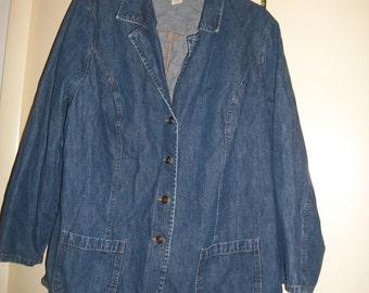 Vintage 90s Medium Wash Denim Blazer, Jacket, Size 20