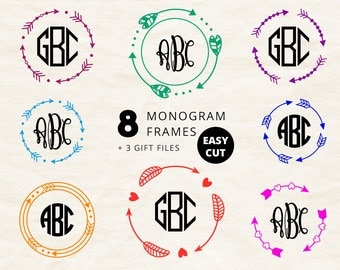 ARROW MONOGRAM frame svg cut files download circle Arrow frame svg for Cricut Round Arrows svg Monogram Border Silhouette dxf digital files