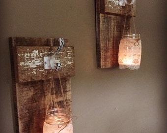 Reclaimed barnwood sconces