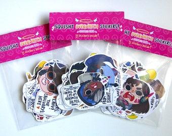 Overwatch Goddess Sticker Pack- 11 Sticker Set D.VA/ Mei/ Pharah/ Symmetra/ Tracer/ Widowmaker/ Ana/ Zarya/ Mercy/ Sombra/ Orisa & Effi