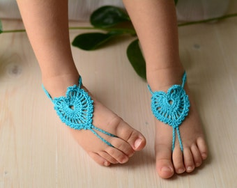 turquoise baby footless winx sandals flower girl beach wedding sandles toddler crochet heart barefoot sandal foot jewelry feet accessory