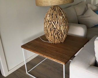 Hardwood End Table on Square Steel Frame