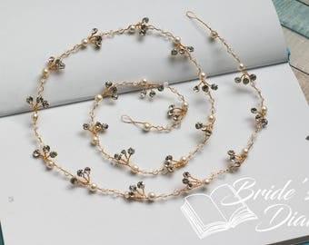 XL Pearls and Rhinestones Bridal Wreath, wedding golden hair vine, extra long