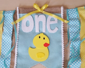 1st Birthday Ducky Highchair Banner