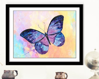 Purple Butterfly Print - Violet Butterfly, Butterfly Art Print, Pastel Artwork, Insect Wall Art, Purple Butterfly Decor, 10x8 Butterfly