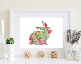 Floral Rabbit Art, Rabbit Art Poster, Pink Rabbit Art, Pink Bunny Print, Bunny wall decor, watercolor floral bunny art, rabbit download,