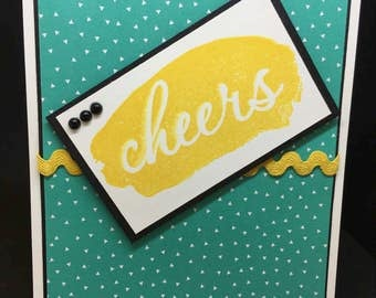 Cheers Card, Congratulations Card, Friendship Card, All Occasion Card, Cute Handmade Card, Blue and Yellow Card, Stampin' Up! Designs