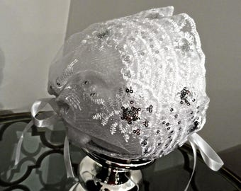 White Lace Sparkle Christening Bonnet For Newborn to Toddler