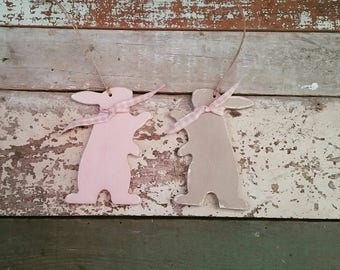 Hanging Handpainted Bunny, Easter Bunny decoration with Paws Up, Easter Bunny Ornament, Bunny Rabbit Lover Gift, Rabbit Ornament