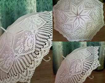 Wedding umbrella Bridal umbrella Crochet romantic umbrella White lace umbrella Wedding Parasol Wedding accessories Photo session umbrella