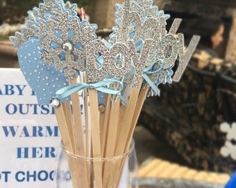 Hot Cocoa Bar,baby its cold outside,hot cocoa stirrers,winter onderland,hot chocolate, baby its cold outside baby shower,snowflake party