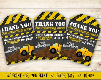Construction Favor Tag, Construction Birthday Favor, Construction Party Favor Tag, Dump Truck Favor Tag, Dump Truck Party Tag