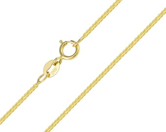 "10K Solid Yellow Gold Foxtail Necklace Chain 1.0mm 16-20"" - Link"