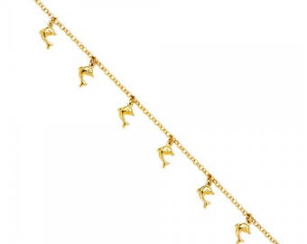 14K Solid Yellow Gold Dolphin Bracelet - Fish Polished Charm Rolo Chain Link
