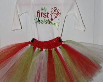 1st Christmas tutu onesie