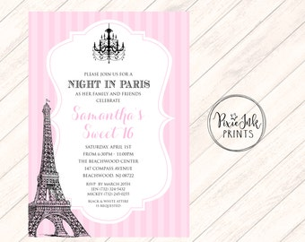 Paris Sweet 16 Invitation, Pink Paris Sweet Sixteen Invite, Paris Birthday Invitation, A Night in Paris Invitation, Eiffel Tower, Printable