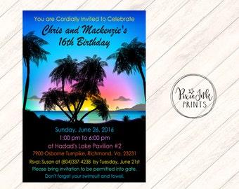 Sunset Beach Birthday Invitation, Beach Party Invitation, Beach Birthday Invitation, Tropical Beach Invitation, Beach Luau Invitation