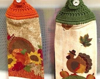 Handmade Thanksgiving Crocheted Hanging Kitchen Towels/Crocheted Kitchen Towel/Hanging Kitchen Towel/Thanksgiving Decor/Ready to Ship Towel