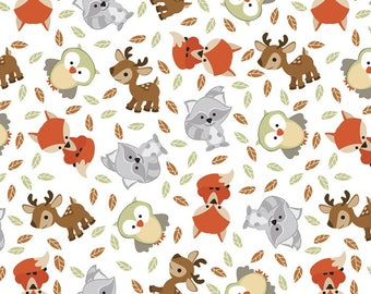 New! Woodland Friends double brushed Fleece Fabric fabric by the yard/David Textiles/Free shipping available/baby fabric