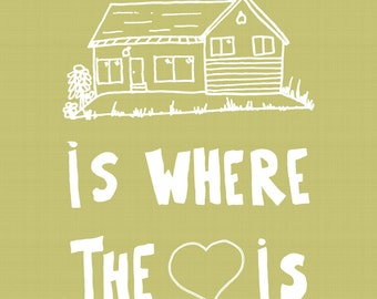 Home is where the heart is, 11 x 14 print, greenish yellow, home decor, sentimental, happy, housewarming gift
