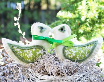 Rustic Wedding Gift for Couple Love Birds Wedding Decorations Woodland Decorations Bird Decorations Rustic Christmas Ornaments