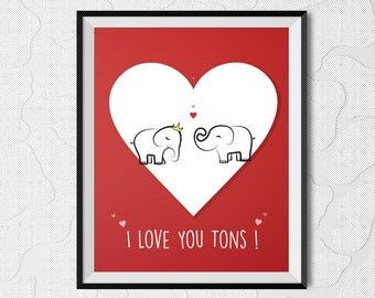 i love you tons, printable art, love print, valentine's day, instant download, i love you, printable love print, valentine print, doodle art