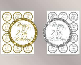 25th cupcake toppers etsy for 25th birthday decoration