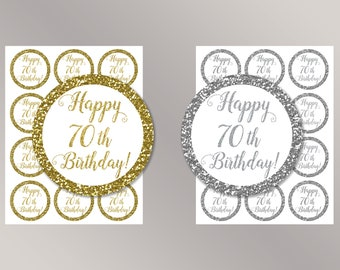 Happy 70th Birthday Cupcake Toppers, Happy Birthday favor tags, 70th Birthday Party Decor, Birthday Decorations, Gold, Silver Cake toppers