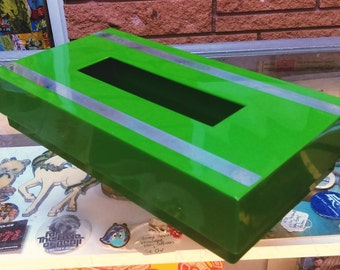 MCM Vendome Green & SilverTissue Box - Hangs on Wall!