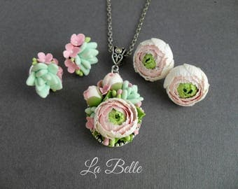 Set Pendant and studs with Ranunkulyus and succulents, polymer clay jewelry, polymer flowers, floral jewelry, fimo flowers, vintage flowers