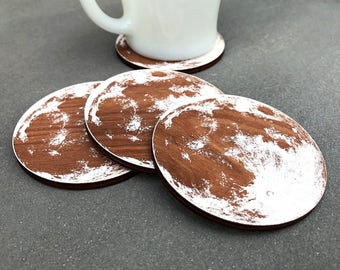 Wood Moon Coasters - Wooden White Full Moon Personalized Custom Gift Barware Space Science Natural Boho Gift